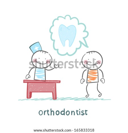 orthodontist says to a patient about tooth - stock vector
