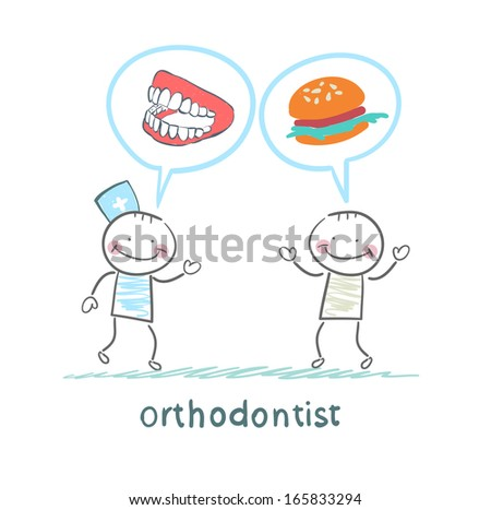 orthodontist says to the patient's teeth and eating - stock vector