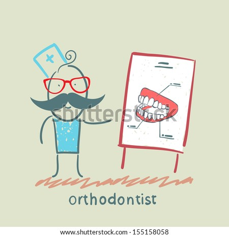 orthodontist tells presentation about teeth - stock vector