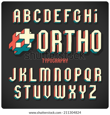 Orthogonal projection font. Color on dark background - stock vector