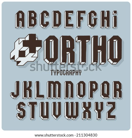 Orthogonal projection font. Dark on light blue background - stock vector
