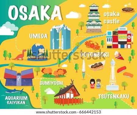 Osaka Map Colorful Landmarks Japan Illustration Stock Vector HD