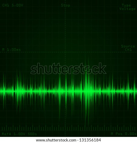 oscilloscope screen showing sound wave signal - stock vector