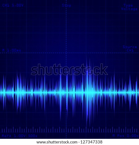oscilloscope screen showing wave signal - stock vector