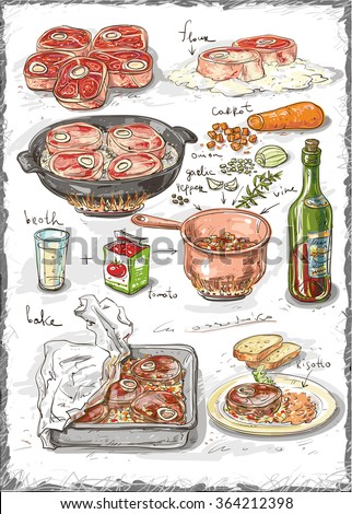 Ossobuco. Illustrated instructions for cooking traditional Italian dishes of meat with sauce of vegetable. Dish for the holiday and hearty lunch. Home family kitchen. Illustrated recipe step by step. - stock vector