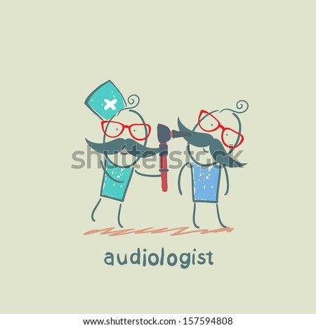 otolaryngologist examines the ear of the patient - stock vector