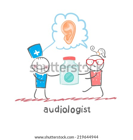 otolaryngologist says ear disease and gives the patient a tablet - stock vector