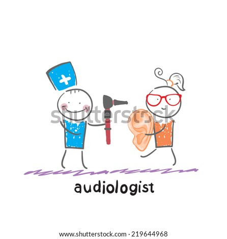 otolaryngologist  stands next to the patient who holds a large ear - stock vector