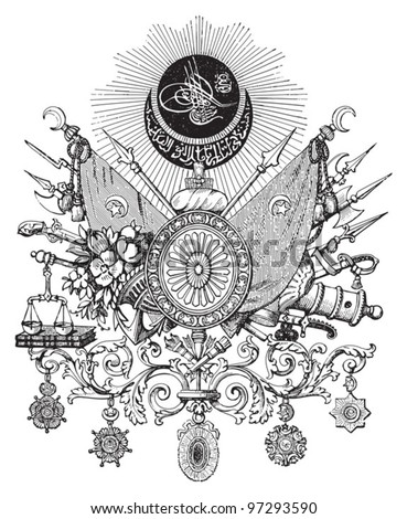 Ottoman Empire (Turkey) coat of arms / vintage illustration from Meyers Konversations-Lexikon 1897 - stock vector