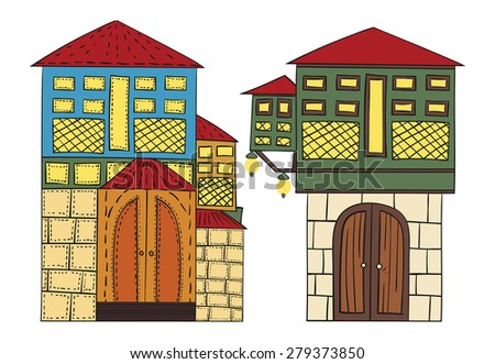Ottoman Houses - stock vector