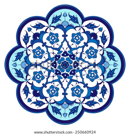 Ottoman Islamic ceramic floral vector tile - stock vector