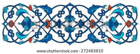 Ottoman, Turkish, Arabic, African, Islamic floral vector border frame ceramic tile  - stock vector