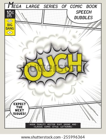 Ouch. Explosion in comic style with lettering and realistic puffs smoke. 3D vector pop art speech bubble - stock vector