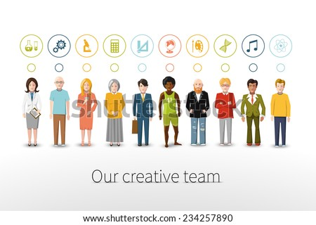 Our creative team of ten people with occupations icons on white background - stock vector