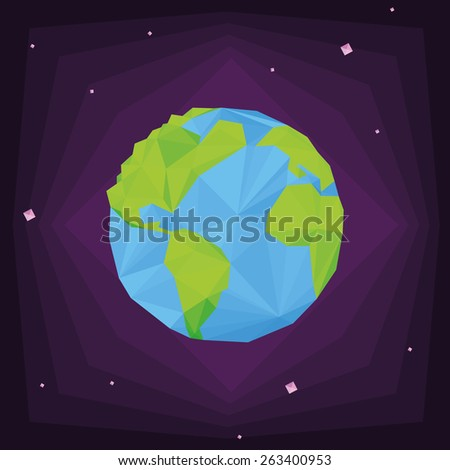 our isolated planet on a colored background