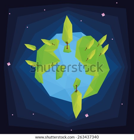 our isolated planet with trees on a colored background