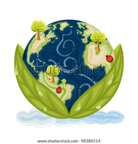 Our planet Earth inside green leaves with drops of water. Preservation of Nature. Vector file saved as EPS AI8, no effects, all elements layered, easy edit and print. - stock vector