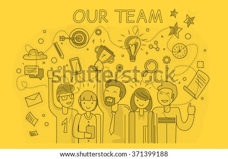 Our success team linear design. Teamwork and business team, our team business, office team, business success, work people, company and leadership, businessman and worker, resource office illustration - stock vector