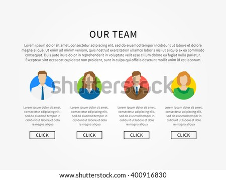 Our Team Webpage Template Vector Illustration Stock Vector (2018 ...