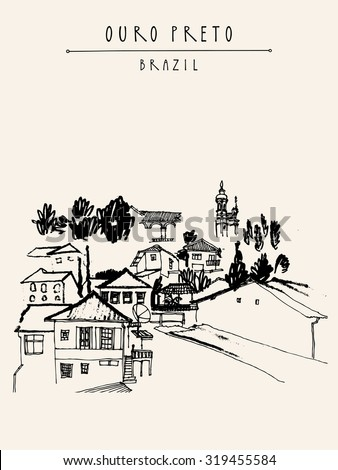 Ouro Preto, Minas Gerais, Brazil. Vertical vintage black and white hand drawn postcard or poster in vector. Travel sketch drawing - stock vector
