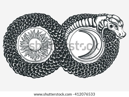 ouroboros devouring own tail tattoo design stock vector 412076533 shutterstock. Black Bedroom Furniture Sets. Home Design Ideas