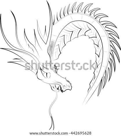 Ouroboros (dragon eating its own tail) isolated on a white background. Vector illustration  - stock vector
