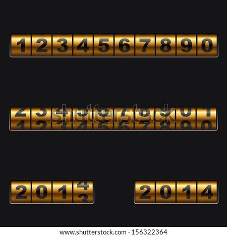 Out-dated mechanical golden counter vector template. Easy to edit and combine any numbers. - stock vector