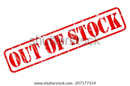 OUT OF STOCK red stamp text on white - stock vector