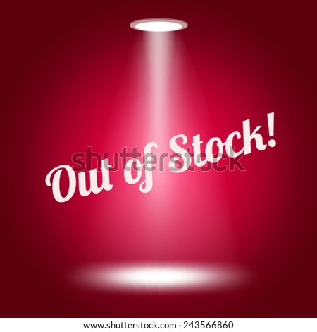 Out of stock stage lit with lights on red background Vector illustration.  - stock vector