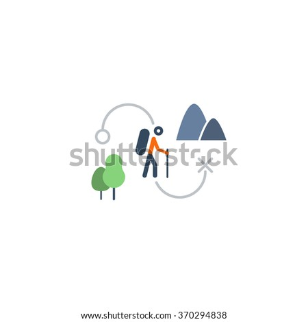 Outdoor activities, nordic walking - stock vector