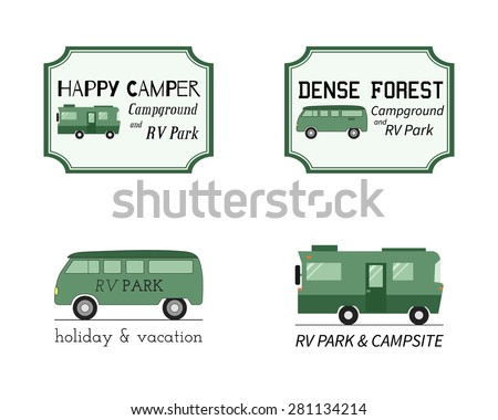 Outdoor Activity Travel Logo Vintage Labels design template. RV, forest holiday park, caravan. Camping Badges Retro style logotype concept icons set. Vector illustration - stock vector