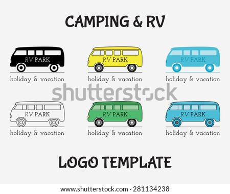 Outdoor Activity Travel Logo Vintage Labels design template. RV, forest holiday park, caravan motor home. Camping Badges Retro style logotype concept icons set. Vector illustration - stock vector
