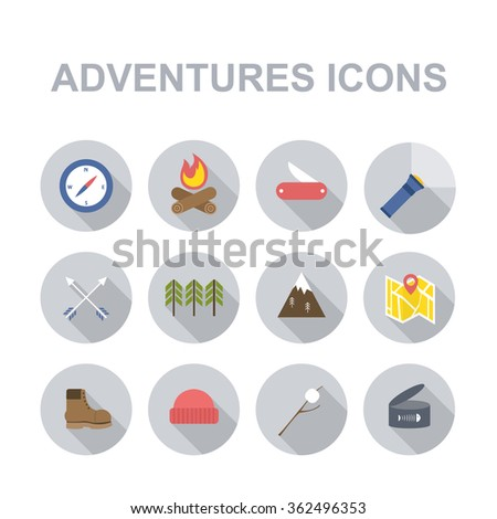 outdoor adventures icons (camping and hiking equipment elements). vector illustration