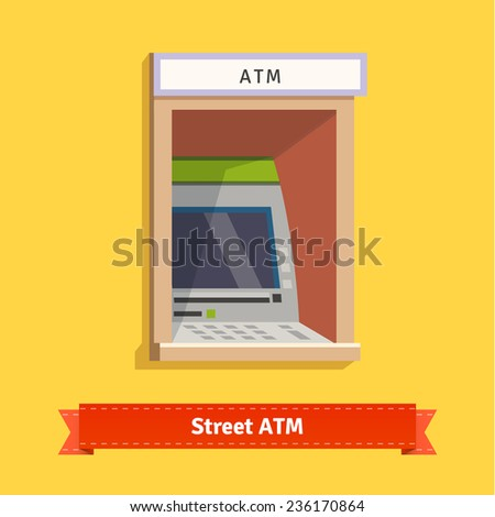 Outdoor ATM machine. Flat style illustration. EPS 10 vector. - stock vector