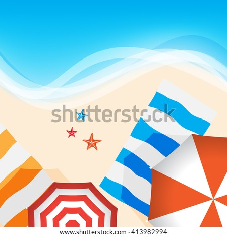 outdoor beach sea side hot summer vacation, starfish and umbrella elements flat layout cartoon digital drawings background design. eps10 vector - stock vector