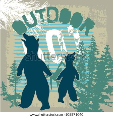 outdoor bear - stock vector