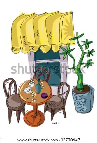 outdoor cafe - cartoon - stock vector