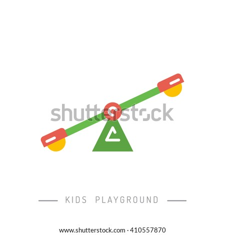 Outdoor children's Playground. Teeter-totter. - stock vector