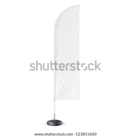 Outdoor Feather Flag With Ground Fillable Water Base Stand. Banner Shield Mock Up, Template. Illustration Isolated On White Background. Ready For Your Design. Product Advertising. Vector EPS10