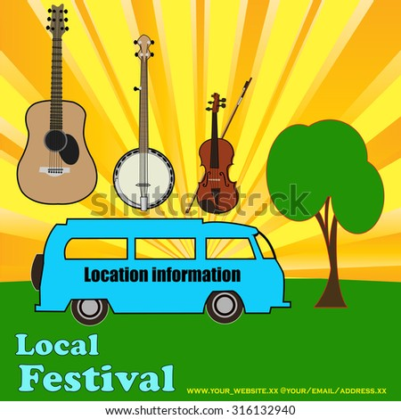 Outdoor festival flyer for an acoustic or folk music event with camping - stock vector