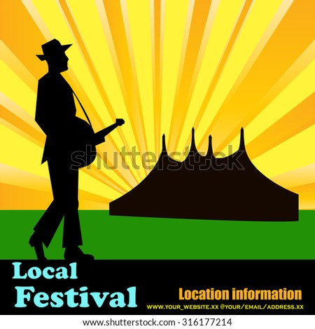 Outdoor festival flyer for an acoustic or folk music event with camping