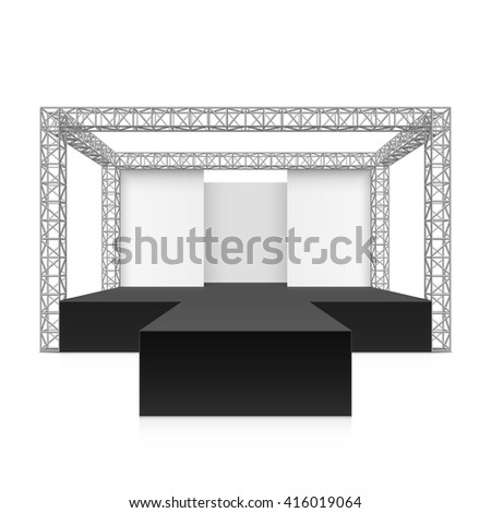Outdoor festival stage, podium, metal truss system. Vector illustration. - stock vector