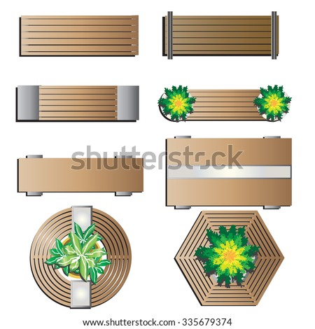 outdoor furniture bench top view for landscape design set 5 vector illustration - Garden Furniture Top View