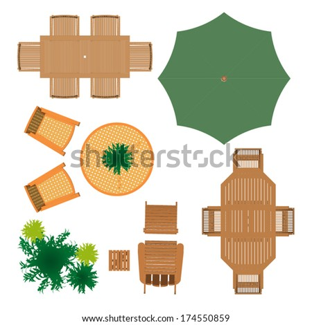 outdoor furniture for landscape design view preview - Garden Furniture Top View