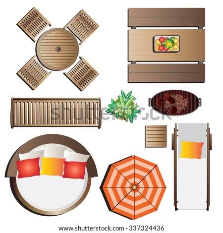 Outdoor Furniture Top View Set 13 For Landscape Design