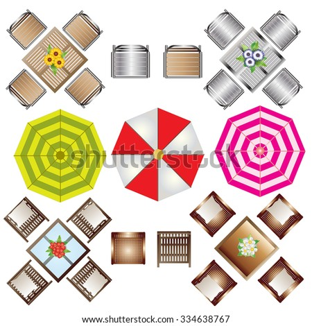 outdoor furniture top view set 2 for landscape design vector illustration - Garden Furniture Top View