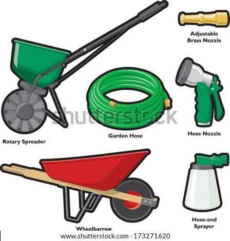 Garden hose stock photos images pictures shutterstock for Gardening tools cartoon