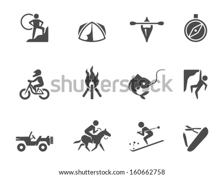Outdoor icons in black & white - stock vector