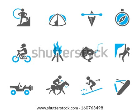 Outdoor icons in duo tone colors - stock vector