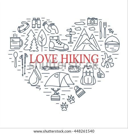 Outdoor Line Icons Shape Heart Hiking Stock Vector 2018 448261540